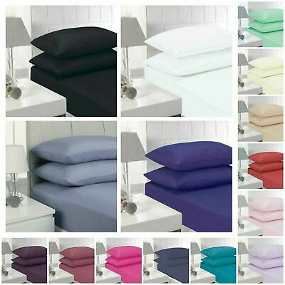 Ultra SOFT-4 Piece FLAT FITTED Bed Sheet Set Single/Queen/King Size + Pillowcase