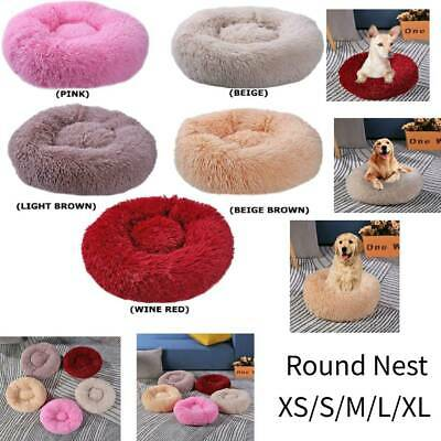 Pet Dog Cat Calming Bed Round Nest Warm Soft Plush Sleeping Bag Comfy Flufy Pet