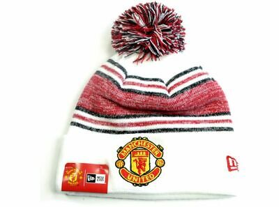 Manchester United Fc New Era 2019 White Bobble Cuff Knitted Hat Idea Gift