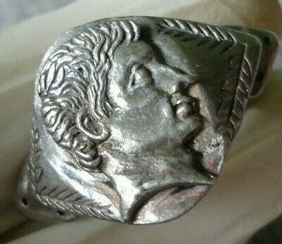 Rare Ancient Roman Silver Legionnaire Ring With Emperor Augustus Bust Unique