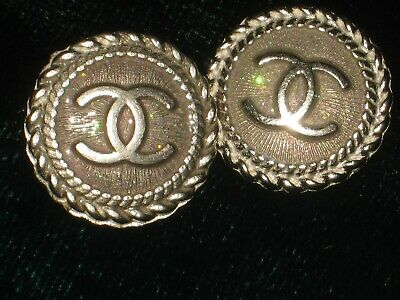 CHANEL opal BUTTONS lot of 2 in 14 mm over 1/2 inch metal with SILVER cc logo