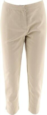 Dennis Basso Stretch Woven Hook Loop Front Cropped Pants Stone 10 NEW A278235