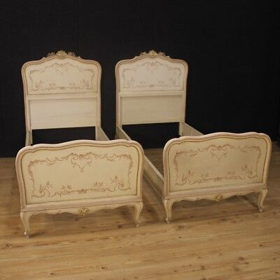 Pair of Beds Lacquered Furniture Venetians Antique Style Wood Painting Room 900