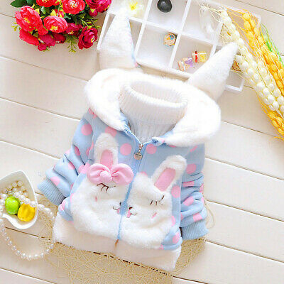 Toddler Kids Baby Girl Fleece Warm Thick Cute Rabbit Ears Hooded Coat Outwear US