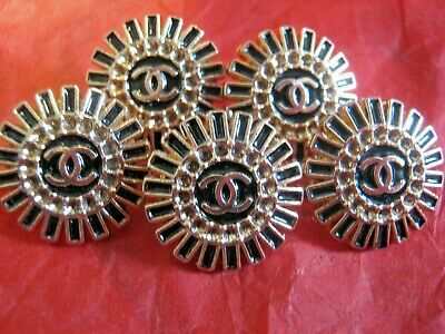 Chanel 5 GOLD CC BLACK BUTTONS   16MM   6 PC.