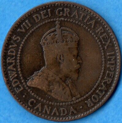 Canada 1907 H 1 Cent One Large Cent Coin - Key Date - Very Good