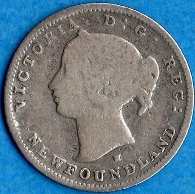 Canada Newfoundland 1876 H 5 Cents Five Cent Small Silver Coin - Very Good
