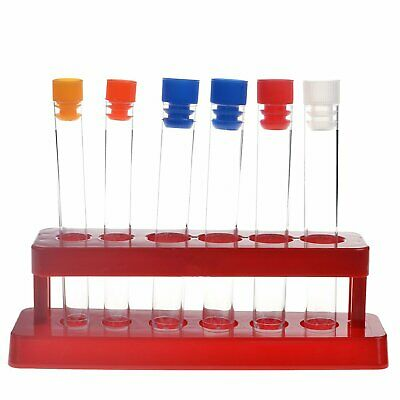 Honbay Set of 6 Assorted Color Cap Plastic Test Tube and Rack Scientific for