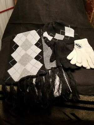 NEW New York and Company Women's Hat Gloves and Ruffle Scarf Set