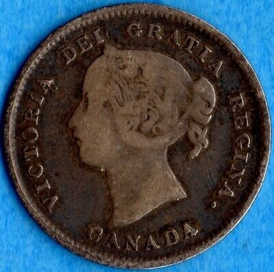 Canada 1891 5 Cents Five Cent Small Silver Coin - VG/F