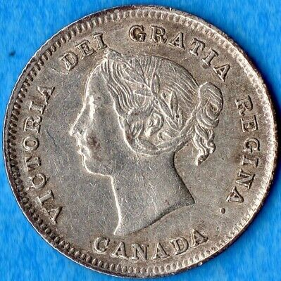 Canada 1891 5 Cents Five Cent Small Silver Coin - EF