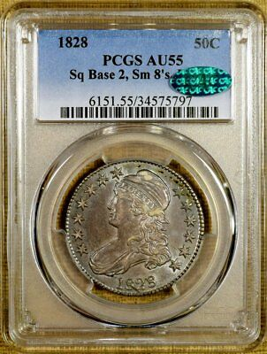 1828 O-110 PCGS AU55 Capped Bust Half Dollar - CAC Stickered