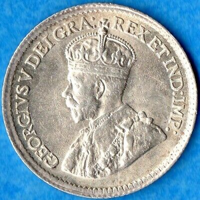 Canada 1919 5 Cents Five Cent Small Silver Coin - EF