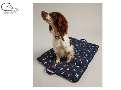 Joules Navy Dog Print Travel Mat Soft Dog Pet Bed All Sizes FREE Delivery