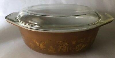 Vintage Pyrex Early American Oval Casserole Dish 043 1.5 qt Brown Gold Lid