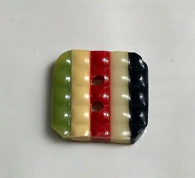 Octagon Celluloid Laminated Wafer Button, Green,Yellow, Red, White & Blue