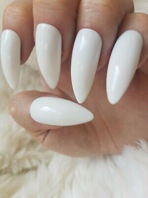 Hand Painted White False Nails. 20 Long Stiletto Press-on Nails. Glossy.