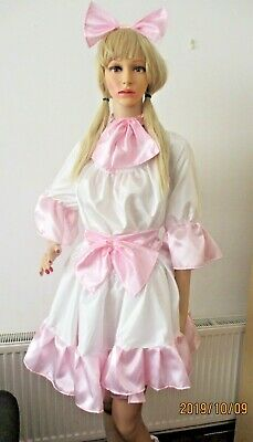 "28""- 54 ""Silky,Satin,Bows,Adult Baby,Diaper Lover,Sissy,AB/DL,Dress,Petticoat,"