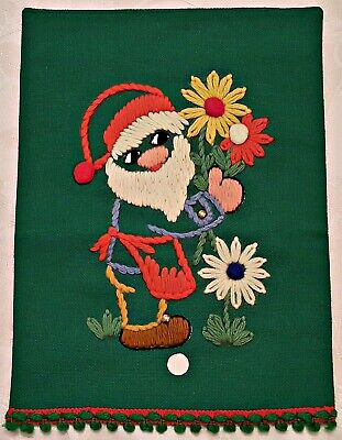 Vintage Christmas Dwarf Embroidery Green Red White Yellow Wool Wall Tapestry