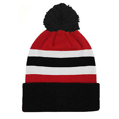 fan originals Retro Football Bobble Hat in Sunderland Colours Red White Black