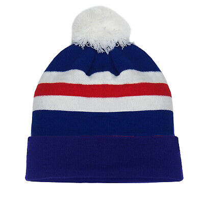 fan originals Retro Football Bobble Hat in Chelsea Colours Blue White