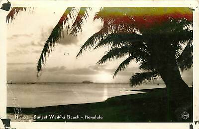 Hawaii Hi Honolulu Sunset Waikiki Beach 1940 S Real Photo