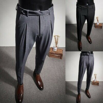Men's Dress Formal Pants Workwear Trousers Straight Wedding Slim Fit Casual Prom