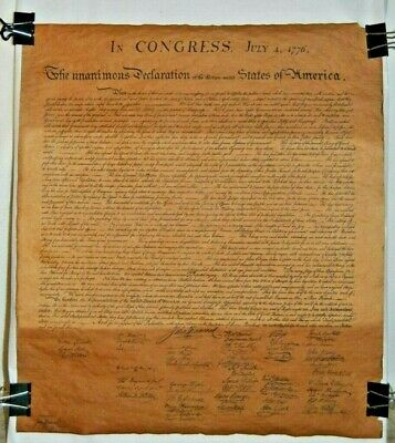 Parchment Unanimous Declaration Thirteen United States Of America July 4 1776