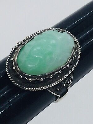 Antique Chinese Sterling Silver Carved Green Jade Ring Size 5