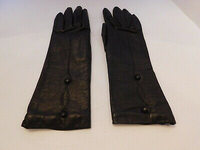 *Smart Set Ladies Brown Leather Winter Gloves Acrylic Knit Lining Size 7