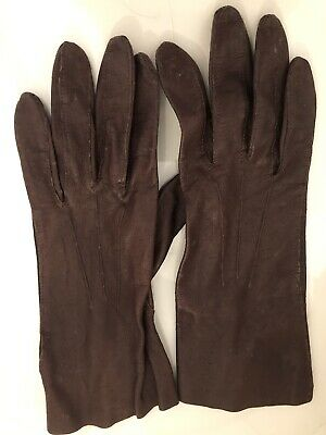 Vintage Soft Leather Ladies Gloves Pittards Yeovil 7 1/2 Brown