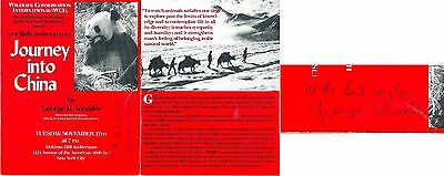 Journey into China Lecture Program signed by George Schaller