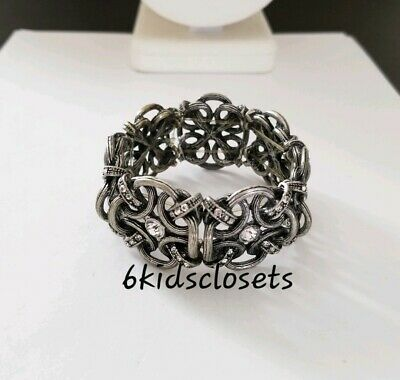 "Premier Designs Jewelry GATEWAY 6.5"" Antique Silver Plated Crystals Bracelet New"