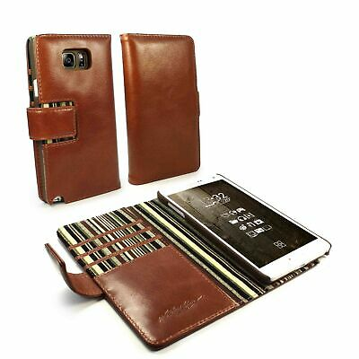 Alston Craig Genuine Leather Folio Wallet Case Cover for Galaxy Note 8 - Brown