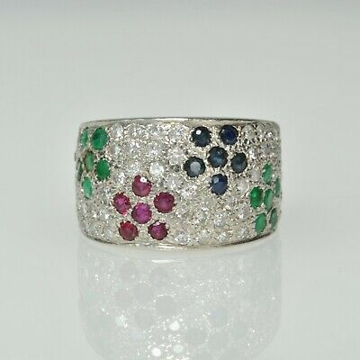 Ladies 14k White Gold 1Ctw Diamond Ruby Sapphire Emerald Wide Band Cluster Ring