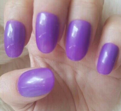 Hand Painted Purple False Nails. 20 Medium Oval Press-on Nails. Glossy.