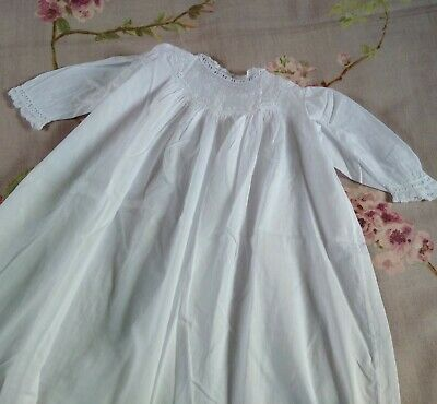 Antique Victorian Fine Linen Lace Baby Day Dress White Christening