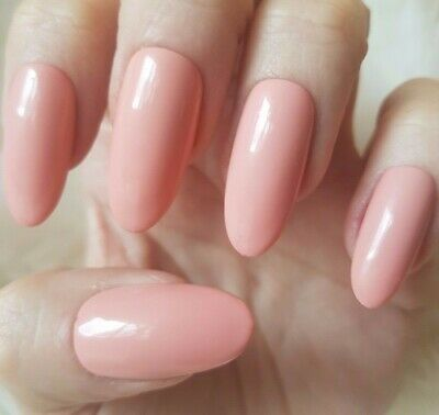 Hand Painted Nude False Nails. 20 Long Oval Press-on Nails. Glossy.