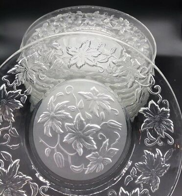 "Princess House FANTASIA CRYSTAL 6"" Dessert Bread Plates Poinsettia (Set of 12)"