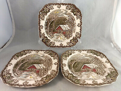 Set of 3 Johnson Brothers Friendly Village Square Salad Plates - Made in Englad