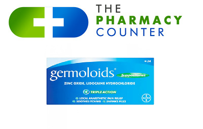 GERMOLOIDS Suppositories Triple Action Pain Itching Relief - Pack Of 12