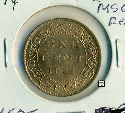 1901 Canada 1 Cent Coin ; MS 65 Red