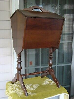 Cherry antique Sewing knitting Box / Cabinet / Stand