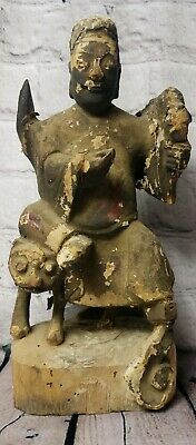 Vintage Old Paper Mache Carved Wood Chinese Man Turtle Outside Hide A Key