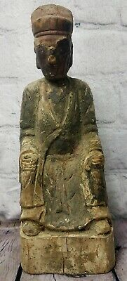 Vintage Old Paper Mache Carved Wood Sitting Chinese Man Outside Hide A Key