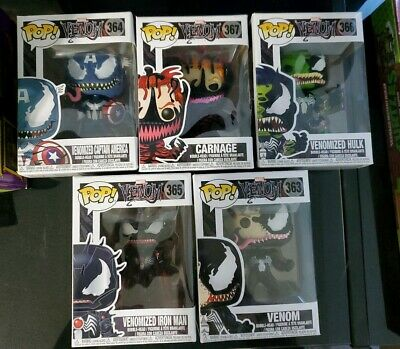 Funko Pop Marvel Venomized lot iron man, venom, captain america, hulk, carnage