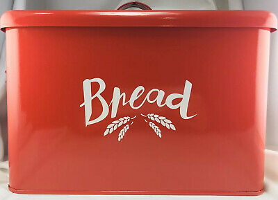 """Metal Bread Box Vintage Look 11x8"""" Burgundy White Square With Cover Handles"""