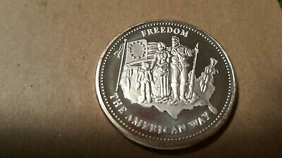 Johnson Matthey 1986 • Freedom The American Way  1 oz .999 Fine Silver Round  BU