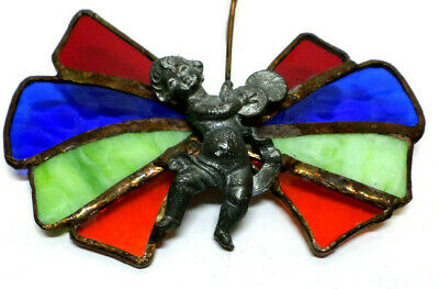 Stained Glass Small Handmade Hanging Baby Angel With Musical Cymbal Instrument
