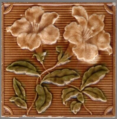 Lea & Boulton c1899 - Brown Floral - Antique Arts & Crafts Majolica Tile